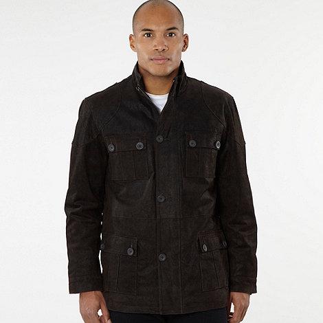 Barneys - Dark brown grained suede coat