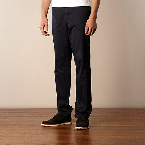 Fred Perry - Fred Perry navy straight leg twill chinos