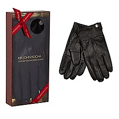 RJR.John Rocha - Black leather touchscreen gloves