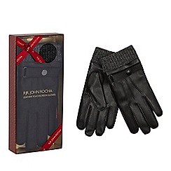 RJR.John Rocha - Black leather touchscreen gloves in a gift box