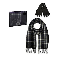 Jeff Banks - Grey checked scarf and gloves set in a gift box