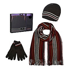 Jeff Banks - Red striped beanie hat, scarf and gloves in a gift box