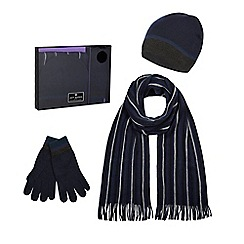 Jeff Banks - Navy striped beanie hat, scarf and gloves in a gift box