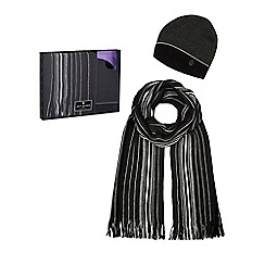 Jeff Banks - Black striped beanie hat and scarf set in a gift box