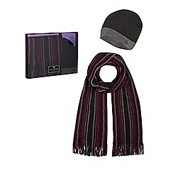 Jeff Banks - Purple striped beanie hat and scarf set in a gift box