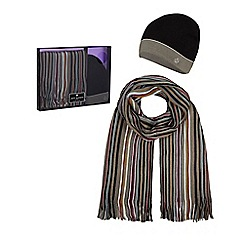 Jeff Banks - Mult-coloured striped beanie hat and scarf set in a gift box