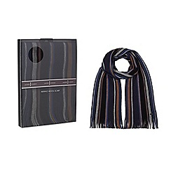 J by Jasper Conran - Navy stripe scarf in a gift box