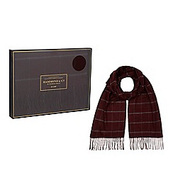 Hammond & Co. by Patrick Grant - Wine red check scarf in a gift box