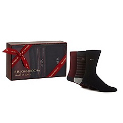 RJR.John Rocha - Pack of three black and dark red plain and striped socks in a gift box