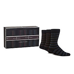 J by Jasper Conran - Pack of three grey striped socks in a gift box