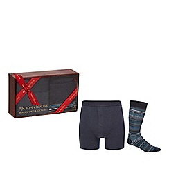 RJR.John Rocha - Blue boxer shorts and socks set in a gift box