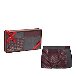 RJR.John Rocha - Pack of two wine red geometric print hipster trunks in a gift box