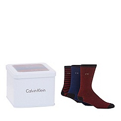 Calvin Klein - Pack of three multi-coloured striped socks in a tin gift box