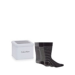 Calvin Klein - Pack of three grey striped socks in a tin gift box