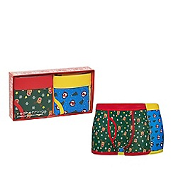 Red Herring - Pack of two multi-coloured Christmas print trunks in a gift box