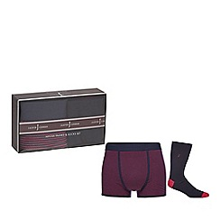 J by Jasper Conran - Pink and navy hipster trunks and socks set in a gift box