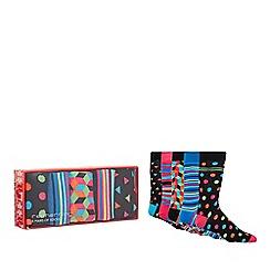 Red Herring - Pack of four multi-coloured geometric print socks