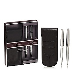 J by Jasper Conran - Black pen and pencil set with leather case in a gift box