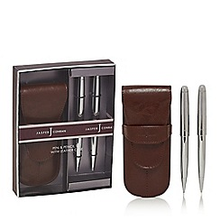 J by Jasper Conran - Brown pen and pencil set with leather case in a gift box