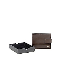 Jeff Banks - Brown leather piped wallet in a gift box