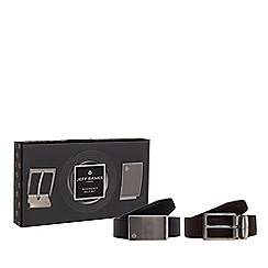 Jeff Banks - Black reversible leather belt set
