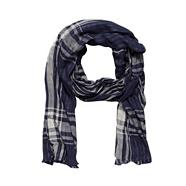 Designer navy double layer checked scarf