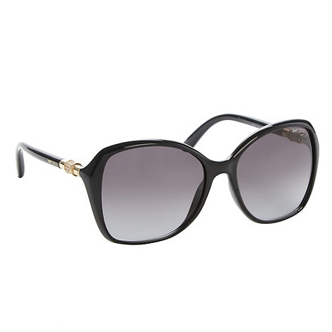 Jimmy Choo - Black plastic diamante temple square sunglasses