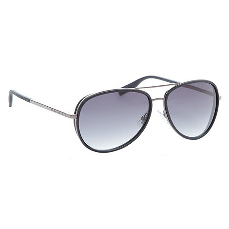 Boss Black - Black leather trim aviator sunglasses
