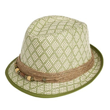 Green ethnic weave trilby hat