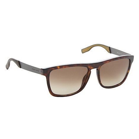 Boss Black - Brown tortoiseshell square lens temple sunglasses