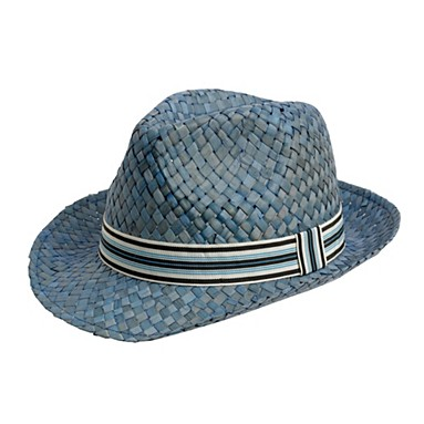 Blue woven straw trilby hat