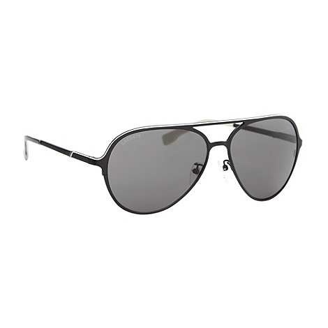Lacoste - Black metal aviator sunglasses