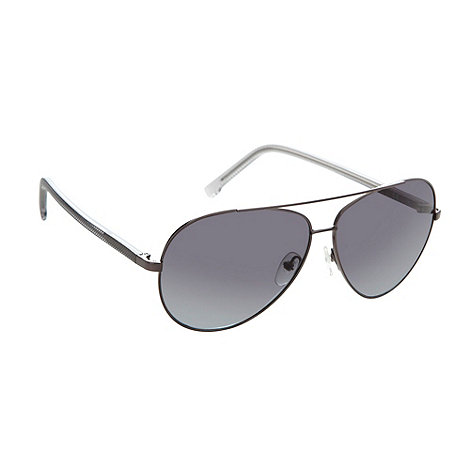 Lacoste - Black metal textured aviator sunglasses