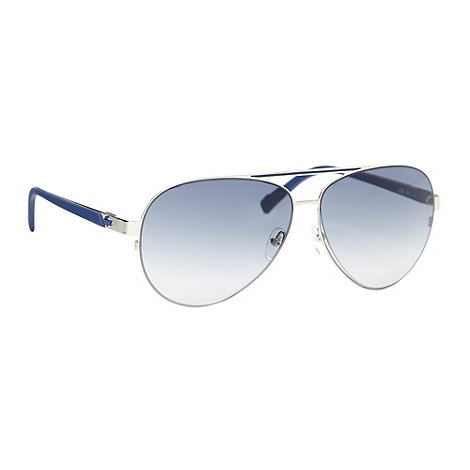 Lacoste - Silver metal aviator textured sunglasses