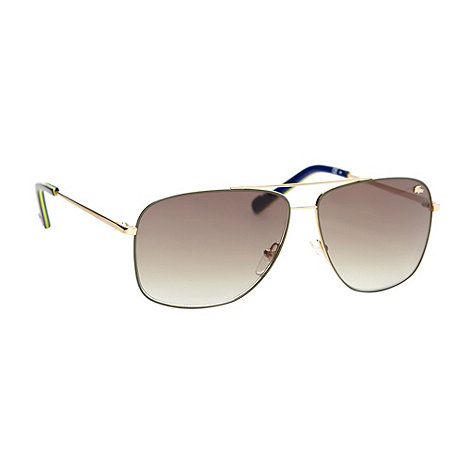 Lacoste - Gold metal aviator tinted sunglasses