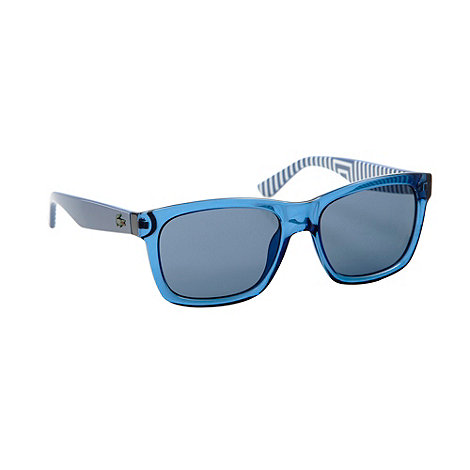 Lacoste - Blue plastic D-frame striped sunglasses