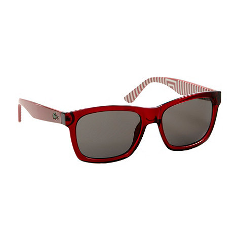 Lacoste - Red plastic D-frame striped sunglasses