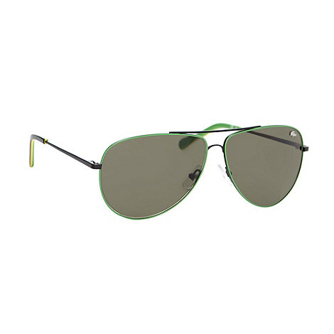 Lacoste - Green metal frame aviator sunglasses