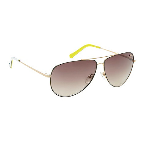 Lacoste - Yellow metal frame aviator sunglasses