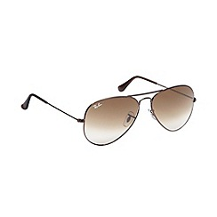 Ray-Ban - Brown large metal frame aviator sunglasses