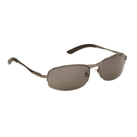 Maine New England - Dark grey metal rectangle mirrored sunglasses