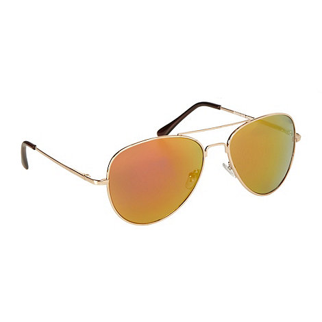 Red Herring - Gold metal mirrored aviator sunglasses