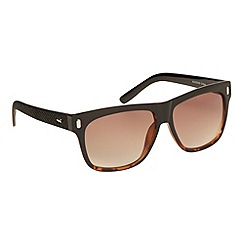 Red Herring - Brown tortoise shell plastic textured square sunglasses