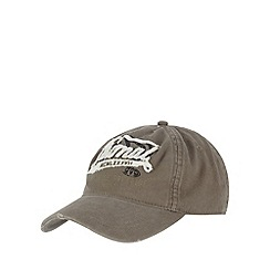 Animal - Taupe frayed logo applique cap