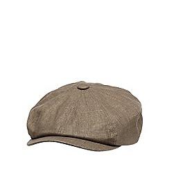 RJR.John Rocha - Designer brown linen blend baker boy cap