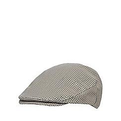 Osborne - Khaki mini dogtooth flat cap