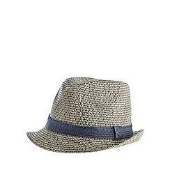 J by Jasper Conran - Designer navy two tone woven trilby hat