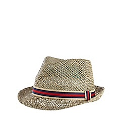 Red Herring - Natural striped band straw trilby hat