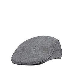 J by Jasper Conran - Designer grey cotton herringbone flat cap
