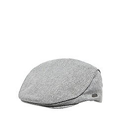 J by Jasper Conran - Designer grey linen blend fine striped flat cap